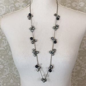 Necklace with gray/Silver/blk beads